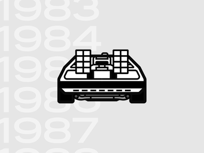 BTTF DeLorean playoff illustration vector icon delorean bttf