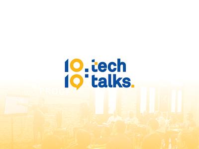 10:10 Tech Talks Channel Logo versatile bubble chat speech interview radio communication responsive logo visual identity broadcast podcast technology channel yellow startup blue logo modernism minimalist branding and identity logo concept