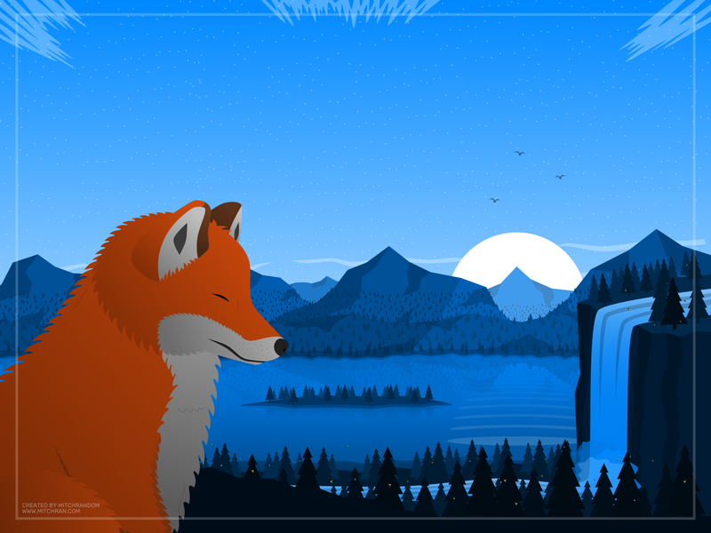 Breathe V2 scenery nature art background minimalistic illustration foxes fox landscape illustration flat landscape landscape