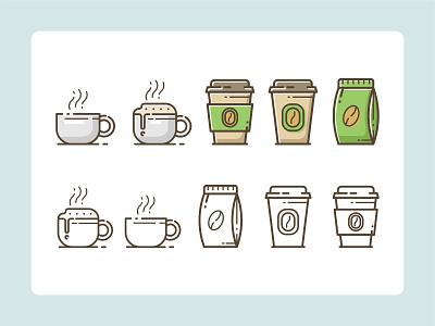 Coffee Shop Icons microstock shop set icon line filled logo bag cup mug icons coffeeshop coffee