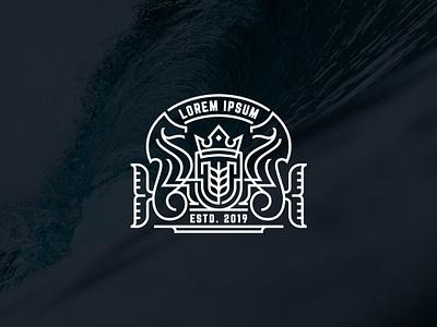 Monogram Seahorse coat of arms freepik shutterstock stock microstock template logotemplate king heraldic heraldy monoline monogram horse seahorse design logo