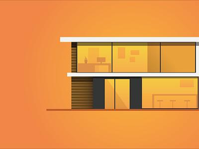Modern-house/Illustrator minimal ui icon web branding flat design logo illustration