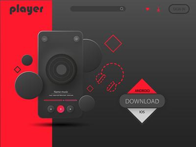 Player music site logo typography шрифт андроид ios website плеер app flat ux design illustration