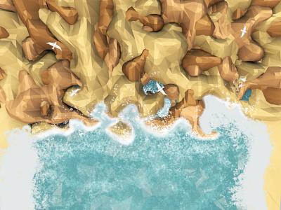 Lowpoly/Пляж/Cinema4D/Море ВАМ art illustration модная иллюстрация illustrator фотошоп атмосфера вода океан icon branding app ux design