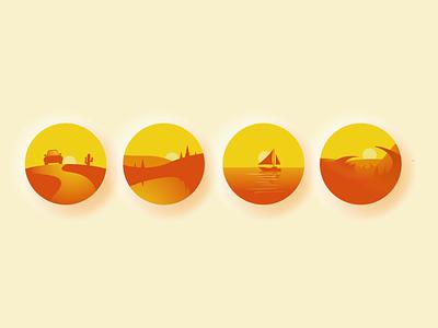 Закаты/Adobe Illustrator карьер logo illustrations адоб веб иконки пейзаж кораблик желтый flat vector design illustration illustrator
