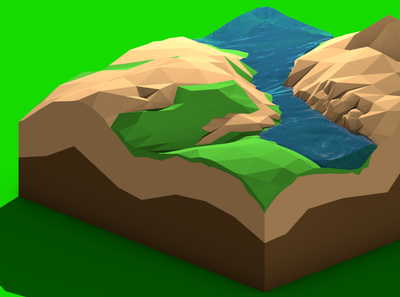 Low poly landscape green