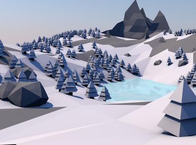 Low poly landscape snow