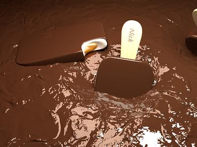 Мороженое в шоколаде Cinema4D minimal branding ux animation web vector typography design