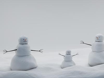 снеговик Cinema4D logo illustration vector design