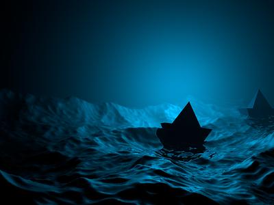 Cinema4D Море и кораблик модель арт icon vector animation синий море design cinema4d