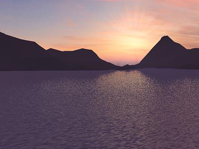 море и горы в Cinema4D лоуполи закат фиолетовый синий арт море logo vector ui icon app design illustration cinema4d