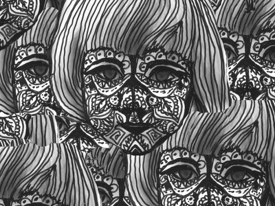 Child portrait artwork multiplication photograph tribal graphic design black illustration black and white girl character child illustration art portrait visual art illustration graphic art design