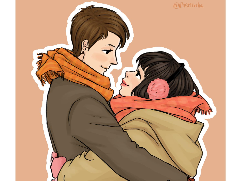 Valentines Hug hug lovers couple valentine illustration draw digital art digital art