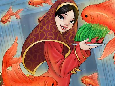 Norouz نوروز 98 نوروز persian goldfishes goldfish norouz bloom blossom drawing draw digital illustration art digital art