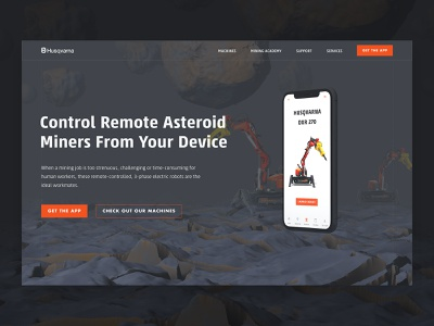 Asteroid Mining Robot Website asteroid machine industrial robot illustration website hero image hero digitalart digital c4d 3d mobile app ui
