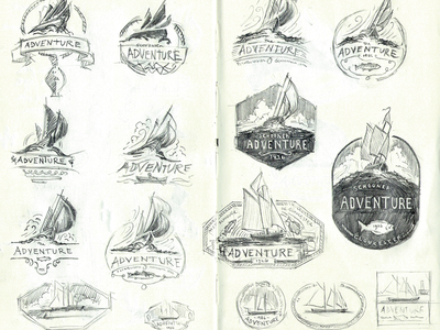 Schooner Adventure Logo Sketches