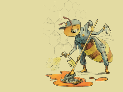 Worker Bee digital bee painting photoshop drawing illustration