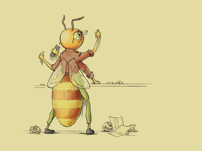 Busy Bee digital bee drawing photoshop illustration