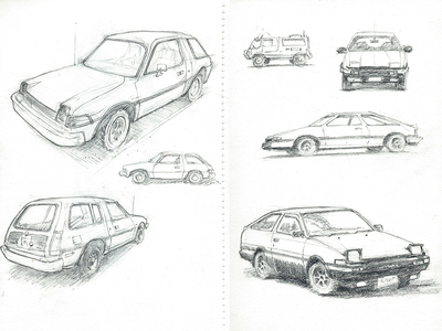 Eighties Car Sketches car cars pencil drawing sketch illustration