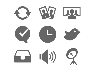 Alcatel-Lucent Icons Set 2 icon icons illustrator sync facetime conference call chat clock twitter inbox volume satellite