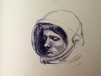 Rocket Man apollo apollo 11 pencil sketch drawing illustration man moleskine neil armstrong space moon astronaut nasa