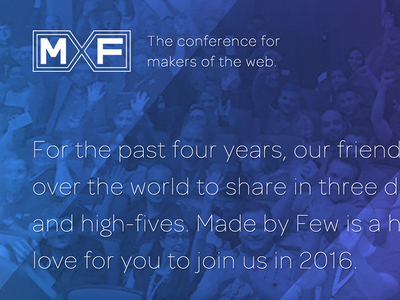 MxF Conference Branding thin type blue inspiration design conf x conference made by few mxf