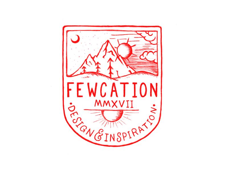 Fewcation Badge Sketch inspiration red sketch design mountains badge fewcation