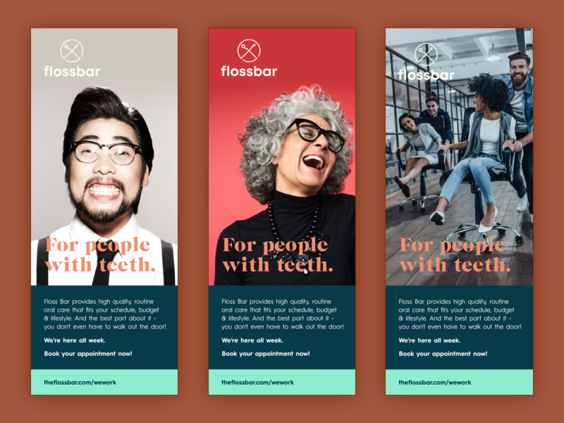 Flossbar Banners for WeWork Office branding design typography banner