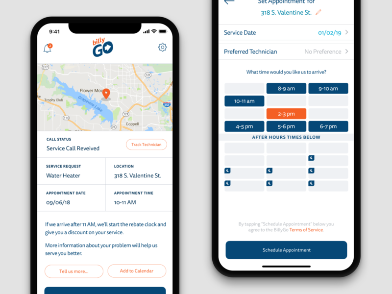 BillyGo Appointment and Scheduling screens appointment scheduling ios app ui