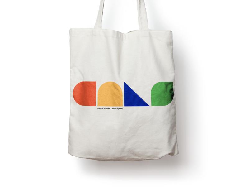 Library Tote Bag minimal shapes little rock arkansas logo design branding