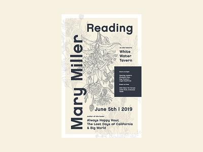 Mary Miller Event Poster typography little rock arkansas design poster design event reading book reading poster