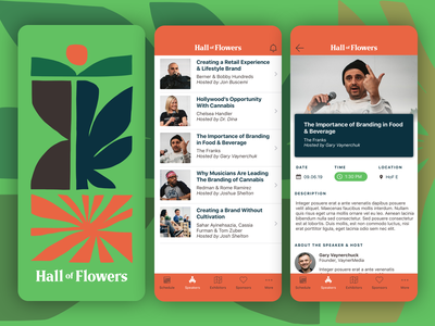 Hall of Flowers Event App cannabis packaging cannabis logo cannabis branding cannabis uidesign ui design app ui app events event app event