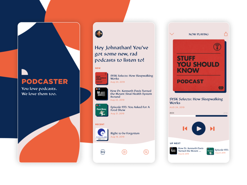 Podcast App Design mobile application mobile app design mobile design mobile app mobile ui mobile app design app ui app podcasts podcast logo podcasting podcast typography logo design branding