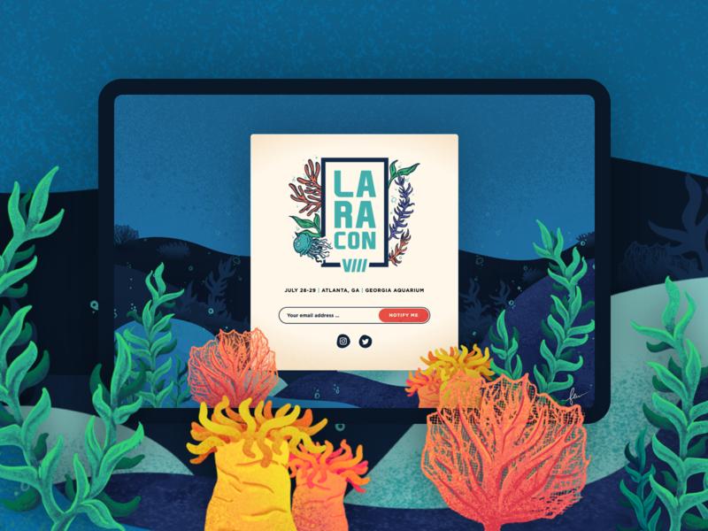 Laracon VIII Teaser Site event website event kelp sea ocean website design conference website conference logo conference laravel laracon website animation ux web logo design branding vector illustration