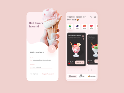Daily UI Ice Cream app clean interface dribbble dailyui daily colors mobile ui ecommerce app mobile designer sign in mobile log in icecream food ecommerce minimal design app ux ui