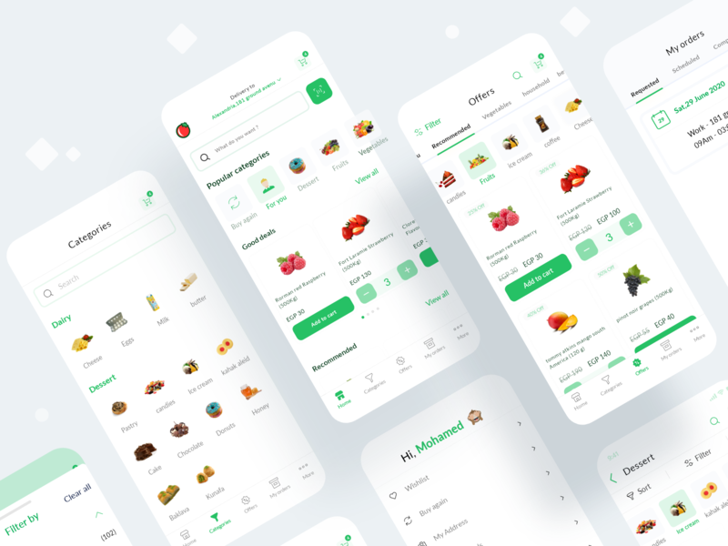 Khodar.com Grocery Delivery app design ingredient flat concept app design food food app grocery app grocery restaurant delivery app mobile ecommerce dailyui interface clean minimal design app ux ui