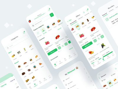 Khodar.com Grocery Delivery app design ingredient flat concept app design food food app grocery app grocery restaurant delivery app mobile ecommerce dailyui interface clean minimal design app ux ui