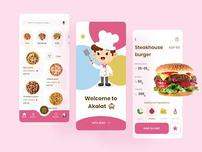 Akalat Food App colors mobile ui burger restaurant ios food trendy trend ecommerce app ecommerce mobile food app dailyui interface clean minimal design app ux ui