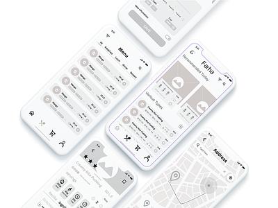 Farha App - Medium fidelity wireframes food app logo ux ui app wireframes