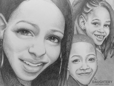 Family Illustration illustration sketch collage portraits caricature birthday card graphite pencil