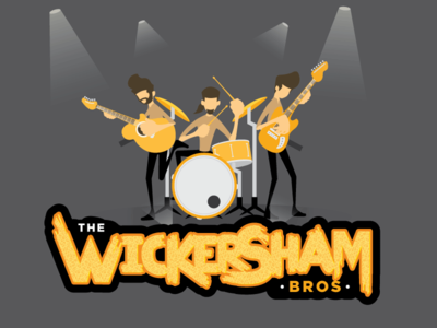 Wickersham Bros. wickersham bros wickersham band illustration font characters logo guitar drum graphic design branding