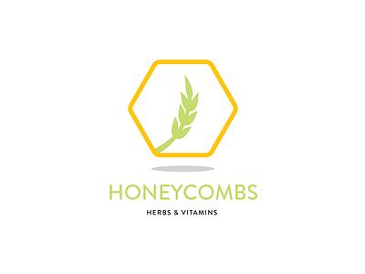 Honeycombs Herbs & Vitamins logo illustration honeycomb herb natural herbal organic geometric