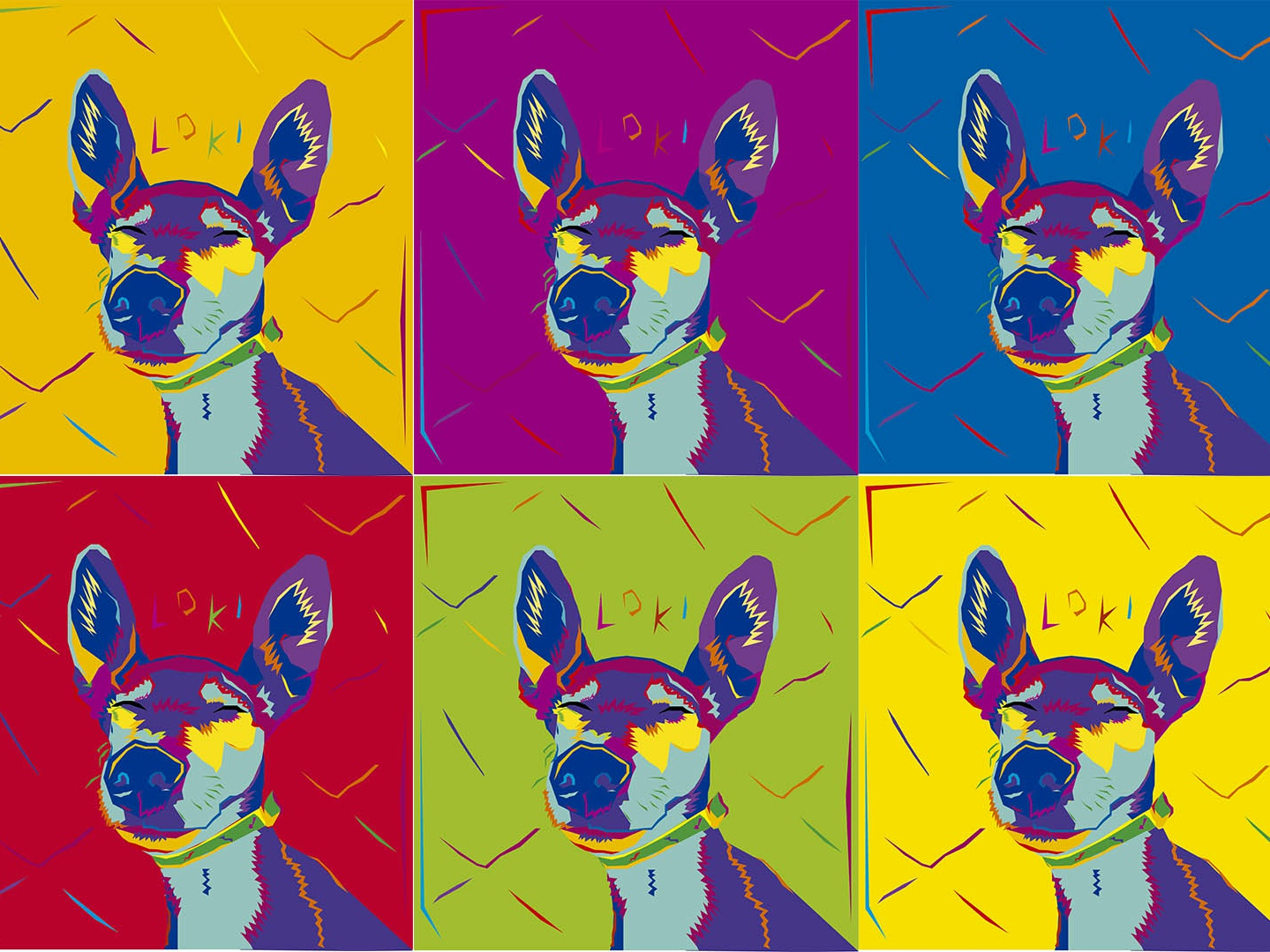 LokiPop relaxed popart wpap colour and lines dog art illustration design