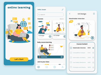 Online Learning illustration adobe xd app ui design uiux learning learning app online course android app design ui uidesign
