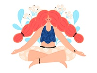 Meditation woman ipad pro meditation cute girl people character vector illustration design