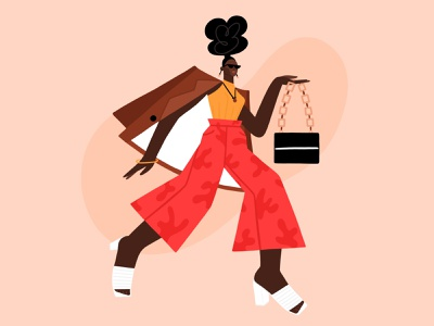Fashion Girl street clothes african american model fashion woman character girl vector illustration design