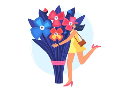 Girl with a Bouquet bouquet flowers human people woman girl character vector illustration design