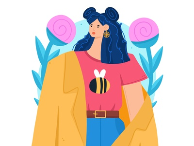Girl with a Bee 2d bee fashion dtiys cute woman people girl character vector illustration design