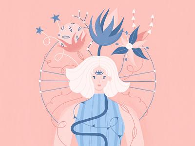 Girl with Magic Flowers flowers magic procreate dtiys woman girl character illustration design