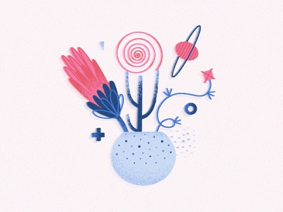 Futuristic Bouquet cosmic flowers bouquet abstract art flat simple surreal vector illustration design